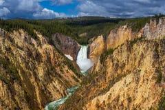 Abaissez les automnes du Yellowstone de l'artiste Point Image libre de droits