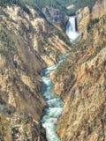 Abaissez les automnes en gorge grande du Yellowstone Photographie stock libre de droits