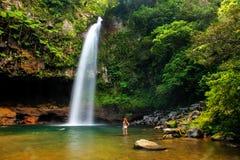 Abaissez les cascades de Tavoro en parc du patrimoine national de Bouma, Taveuni Image libre de droits