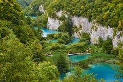 Abaissez les lacs du parc national de Plitvice Images libres de droits