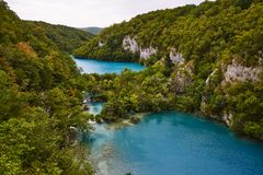 Abaissez les lacs, Plitvice, Croatie Images stock