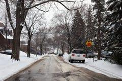 Abajo calle del invierno Fotos de archivo