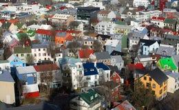 Abajo ciudad Reykjavik Imagen de archivo libre de regalías