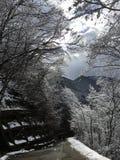 Abajo colina al shirakawago Imagen de archivo