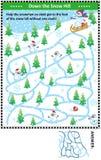 Abajo de la colina de la nieve con el juego del laberinto del muñeco de nieve stock de ilustración