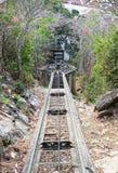 Abajo del ferrocarril de la colina, de la vía del tren, con el bosque y el cielo azul Imágenes de archivo libres de regalías