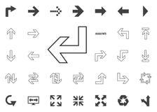 Abajo e icono de la flecha izquierda Iconos del ejemplo de la flecha fijados Imagenes de archivo