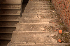 Abajo escaleras concretas Fotografía de archivo libre de regalías