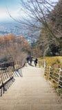 Abajo escaleras y calzada de la colina de la pagoda del chureito de la montaña adentro Imágenes de archivo libres de regalías