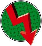 Abajo flecha de la tendencia stock de ilustración