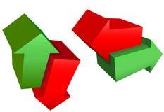 Abajo flechas rojas ascendentes de derecha a izquierda de la dirección del verde 3D Imagen de archivo libre de regalías