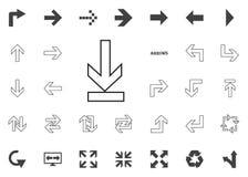 Abajo hasta el icono de la flecha del extremo Iconos del ejemplo de la flecha fijados Imagen de archivo