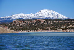 Abajo Mountains And Winter Lake In Utah Royalty Free Stock Photography