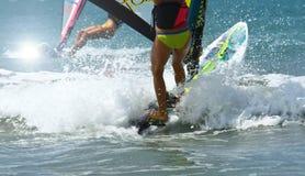 Abajo tablero del windsurf de la visión Foto de archivo libre de regalías