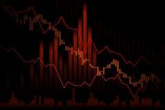 Abajo tienda el mercado de acción o el gráfico comercial de las divisas en concep gráfico libre illustration