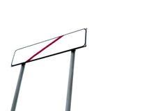 Abajo tiró de poste indicador vacío con la línea roja cruzada Foto de archivo libre de regalías
