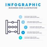 Abakus, Ausbildung, Mathe-Linie Ikone mit Hintergrund infographics Darstellung mit 5 Schritten lizenzfreie abbildung