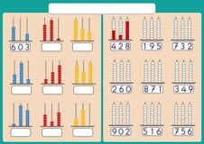 Abakus für Zahlen bis zu 999, Mathearbeitsblatt für Kinder Lizenzfreie Stockbilder