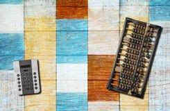 Abakus und Taschenrechner Lizenzfreies Stockfoto