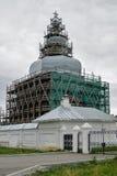 Abalak Återställande av den sakrala Znamensky templet Arkivbilder