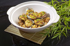 Abalone and chicken. Chinese food stock images