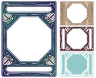 Abalone and mother of pearl frame. Art nouveau style border colored like abalone and mother of pearl inlay Stock Illustration