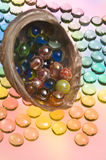 Abalone shell with marbles Stock Image