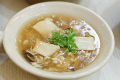 Abalone Soup with Crab Meat  in white bowl Royalty Free Stock Images