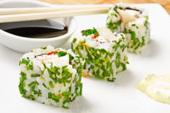 Abalone sushi. On white plate and soy sauce Stock Photography