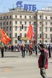 Abanderado dos con las banderas Imagen de archivo libre de regalías