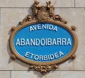 Abandoibarra. Avenue plate at Bilbao Stock Photo
