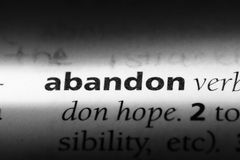 Abandon. Word in a dictionary.  concept stock photo