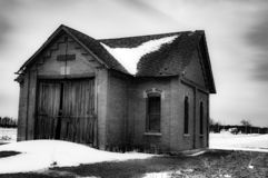 Abandon Barn, USA. An old, abandon barn out somewhere in the middle of USA stock photography