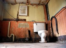 Abandon Bathroom. Here is a image of a disgusting filthy bathroom and toilet Stock Photo