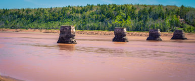 Abandon bridge pillars Nova Scotia Stock Image