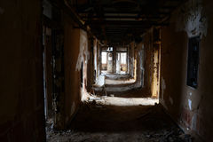 Abandon hallway. Abandon insane asylum hall Stock Photo
