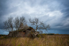Abandon house. The old village, an abandoned house in the field Royalty Free Stock Photo