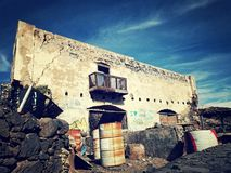 Abandon ruin on a volcanic subtropical island royalty free stock photo
