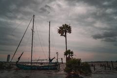 Abandon sailboat. On Clear Lake during Hurricane Harvey near Kemah Texas Stock Photography