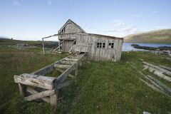 Abandon timber mill in west Iceland Royalty Free Stock Photo