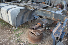Abandon for years and old trucks rusts. Interior of abandoned old car Stock Image