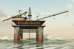 Abandonado fora da plataforma petrolífera da costa ilustração do vetor