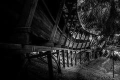 Abandonado luge las serpientes de la pista él manera del ` s a través del bosque Fotografía de archivo libre de regalías