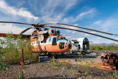 Abandonado y helicóptero del soviet Mi-6 Fotografía de archivo libre de regalías