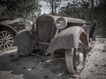 Abandond-Bergwerkstadtautofriedhof Stockfotografie