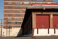 Abandonded Loading Docks. Abandoned warehouses in New Jersy with graffit on loading dock doors Royalty Free Stock Photos