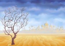 Abandone a árvore minguante e uma miragem antiga do castelo Fotos de Stock