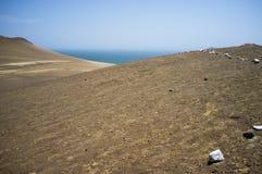Abandone al lado del océano en el parque nacional Paracas en AIC, Perú Foto de archivo