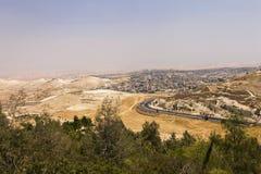 Abandone el área de Cisjordania y las ciudades y los pueblos palestinos detrás de la pared de separación de Cisjordania Imagenes de archivo