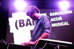 Abandone el concierto (de la banda electrónica) en el Musical de Barcelona Accio Imágenes de archivo libres de regalías